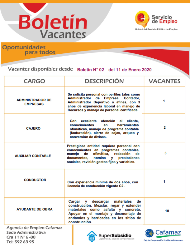 Boletin #02, 2020 | Agencia de Empleo