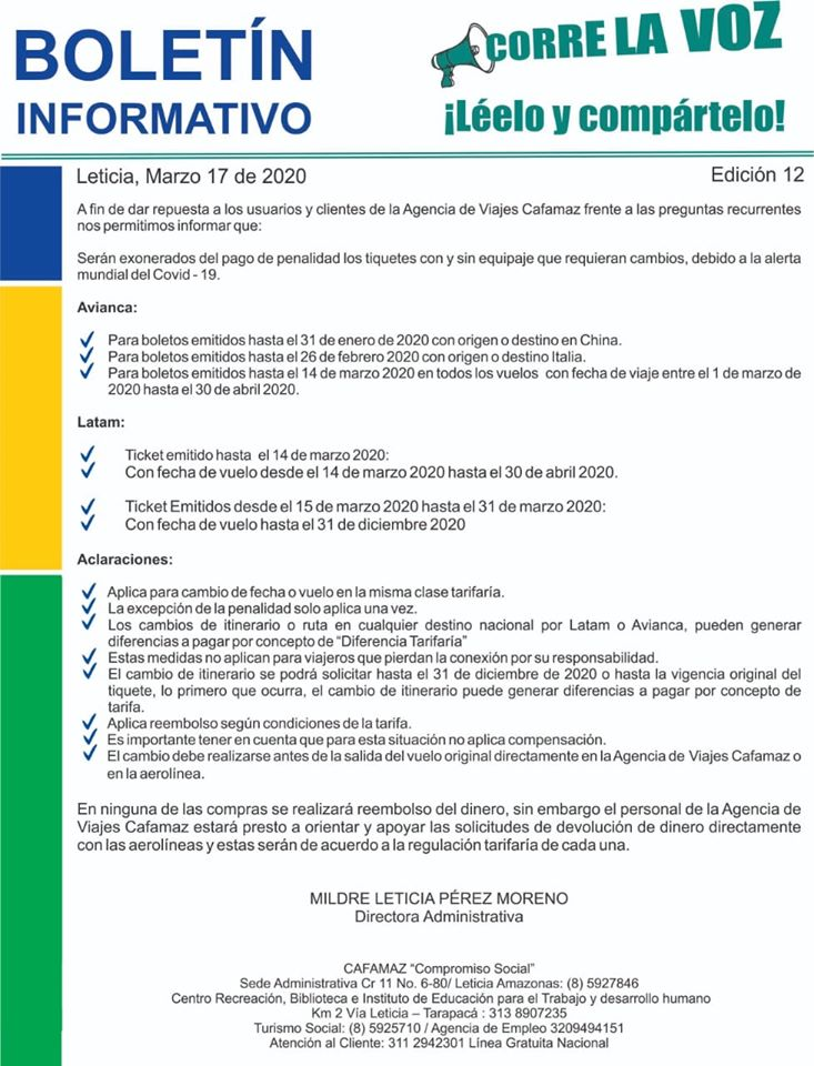 Boletín Informativo Edición 12 – Agencia de Viajes | Cafamaz, 2020