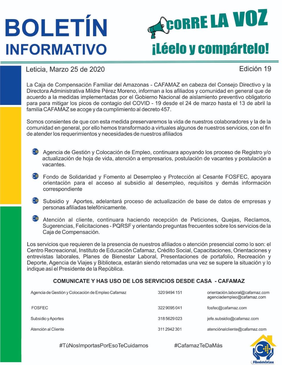 Boletín Informativo Edición 19 – SERVICIOS VIRTUALES | Cafamaz, 2020
