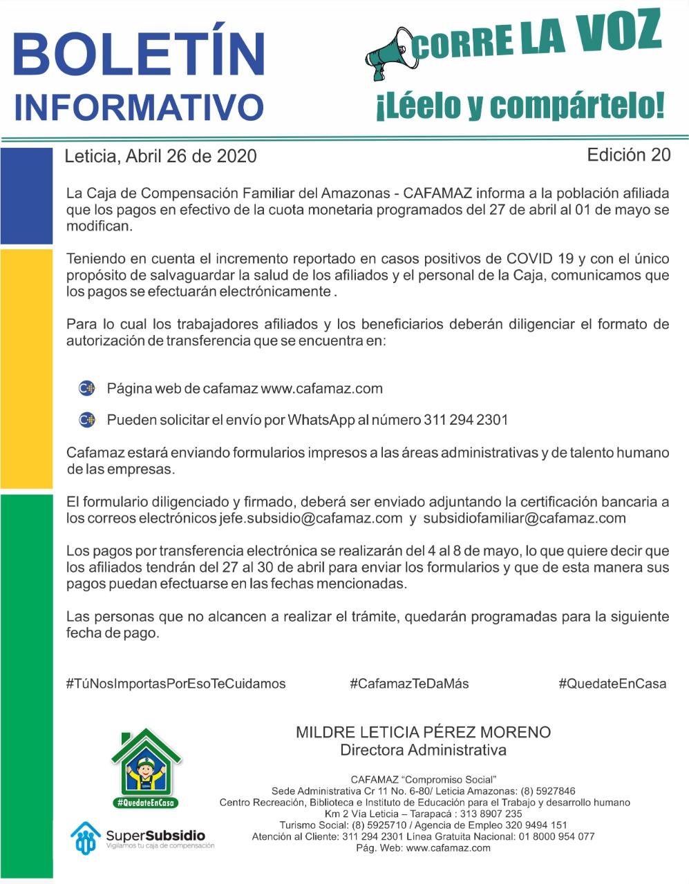 Boletín Informativo Edición 20 – PAGO CUOTA MONETARIA VÍA TRANSFERENCIA ELÉCTRONICA   Cafamaz, 2020