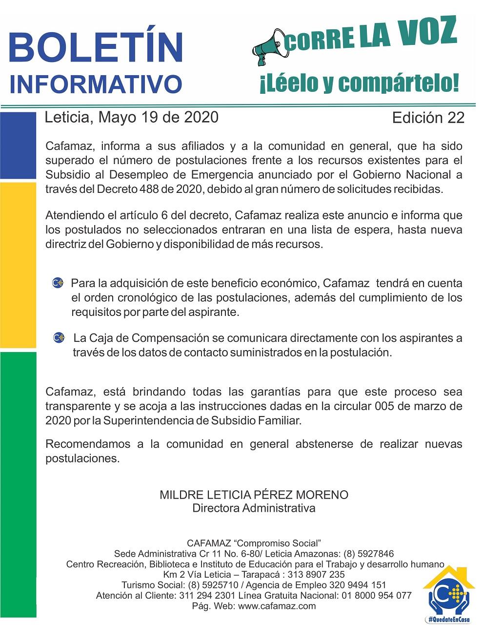 Boletín Informativo Edición 22 – LISTA DE ESPERA, SUBSIDIO DE EMERGENCIA AL DESEMPLEO | Cafamaz, 2020