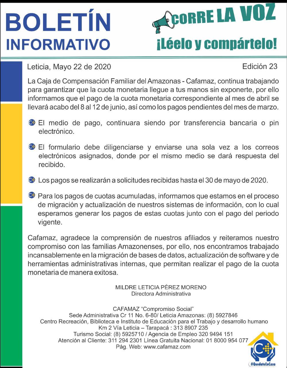 Boletín Informativo Edición 23 – INFORMACIÓN SOBRE EL PAGO DE CUOTA MONETARIA | Cafamaz, 2020