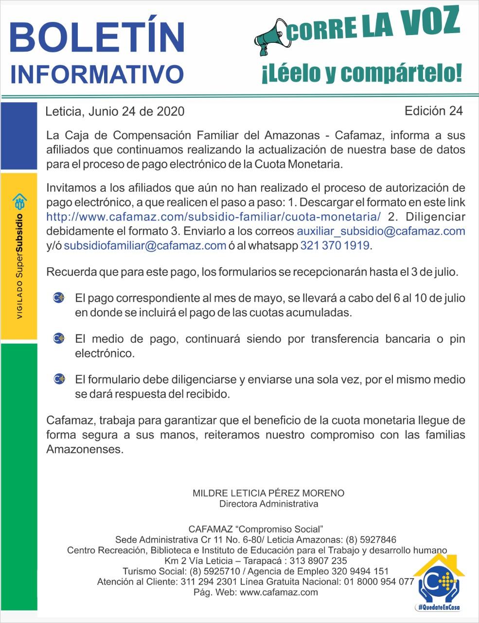 Boletín Informativo Edición 24 | Cafamaz, 2020