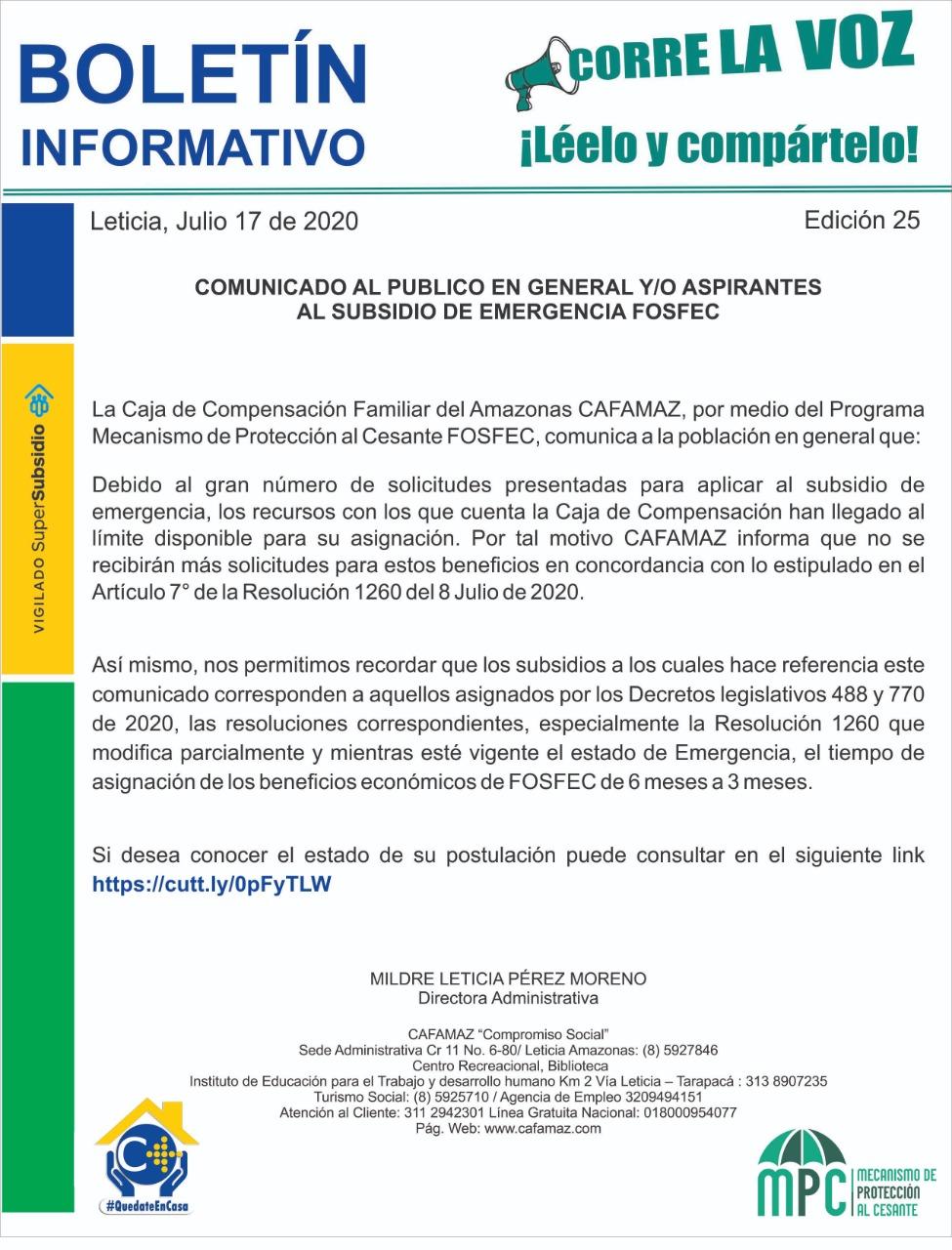 Boletín Informativo Edición 25 | Cafamaz, 2020