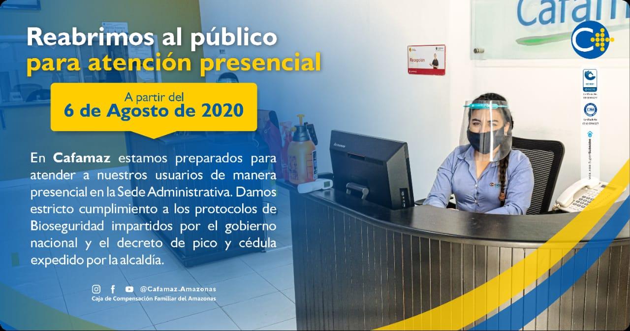 Reabrimos al Público para Atención Presencial | Cafamaz, 2020